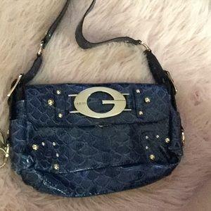 Guess blue faux snakeskin purse